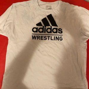 Adidas wrestling white and black t shirt